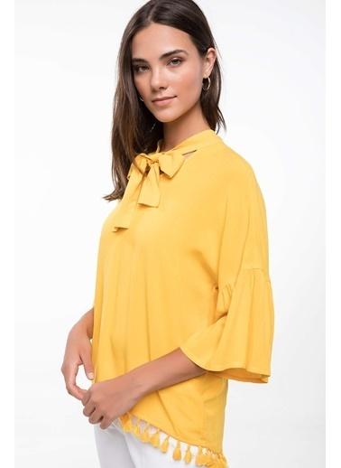 DeFacto Volan Detaylı Püsküllü Bluz Sarı